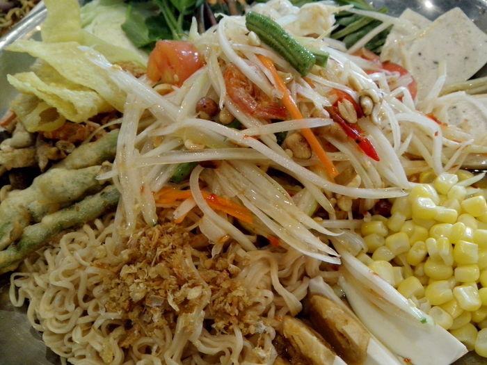 Maximum Closeness Ready-to-eat Close-up Food Thaisalad Somtum Thai Spicy Food Thaifood