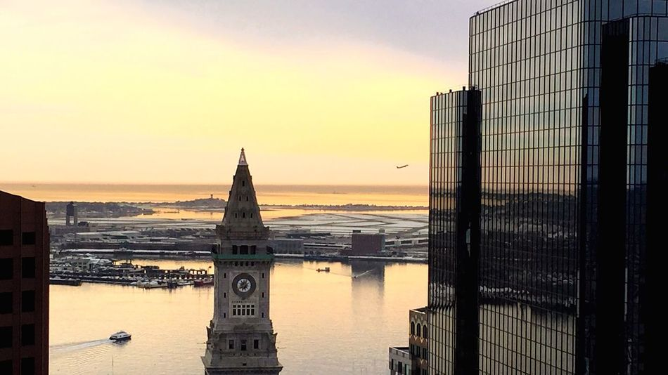 Boston Harbor Cityscapes Landscape Water Reflections Cityscape Light And Shadow Architecture Traveling Sky Taking Photos Sunrise