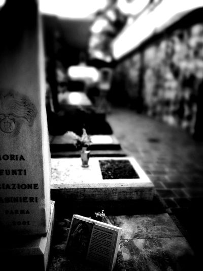 In Memory (bw) Close-up Text Focus On Foreground Selective Focus Life & Death Italy Emilia-romagna Parma HDR Graveyard Memorial Death Place Of Burial Tombstone Religion Spirituality