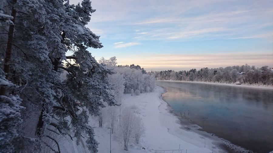 Scenic view of lake amidst snow covered trees against sky