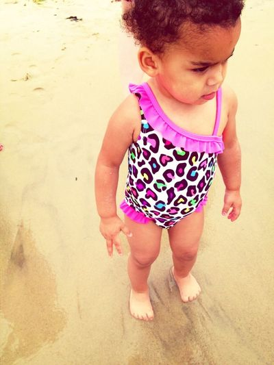 Baby Sis At The Beach Today.