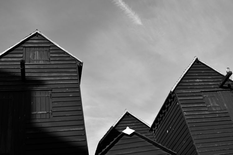 Architecture Blackandwhite Building Exterior Built Structure Close-up Clouds Hastings Low Angle View No People Outdoors Photographer Sky Wooden Wooden Building Wooden Texture