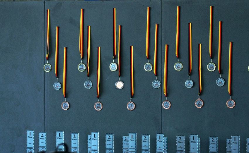 Sport Event Close-up Day Honor In A Row Indoors  Large Group Of Objects Medal Giving Medals No People Presentation Success The Winner Takes It All