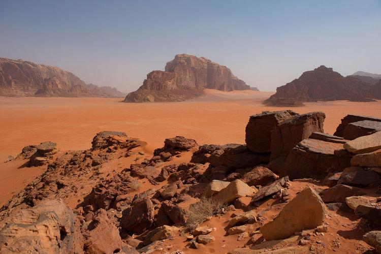 Scenic view of rocks in desert against sky