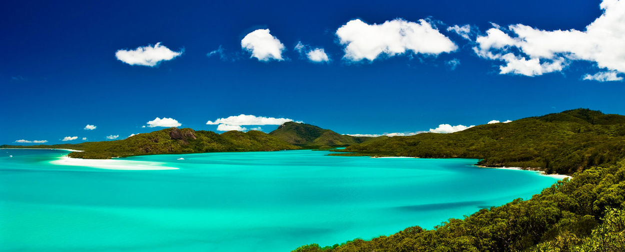Australia Beach Beauty In Nature Blue Day Heaven Idyllic Landscape Mountain Nature No People Outdoors Panorama Postcard Rock - Object Scenics Sea Sky Summer Travel Destinations Tree Tropical Climate Vacations Water
