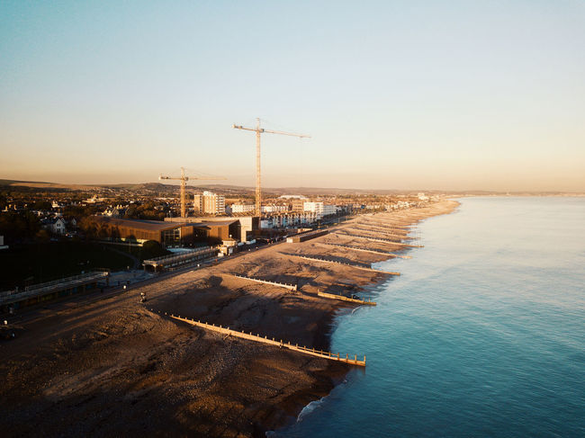 Drone shots of Worthing seaside Drone  Dronephotography Drone Photography Droneshot DJI Mavic Pro Dji DJI X Eyeem Pilot Sky Fly Water Architecture Nature Sea Built Structure Sunset Clear Sky Building Exterior No People Industry Outdoors High Angle View Pier Day Land Environment Horizon Tranquil Scene Construction Equipment Pollution
