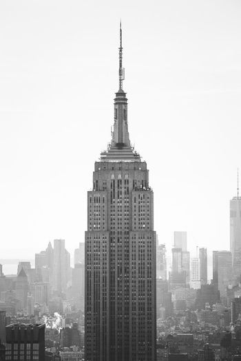 The Empire State Building is much more beautiful viewed from the Rockefeller Center. Skyscraper Empire State Building Rockefeller Center Birds View Skyline Manhattan New York City