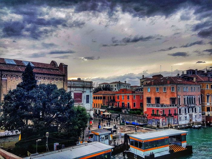 Cloud - Sky Sky Built Structure Architecture Building Exterior Outdoors No People Illuminated Multi Colored Night Nature City Cityscape Light And Dark Landscape_Collection Light Effect Venice Italy Venice Canals Venice Lagoon Venice Area Venice View Venice Life Sunset High Angle View