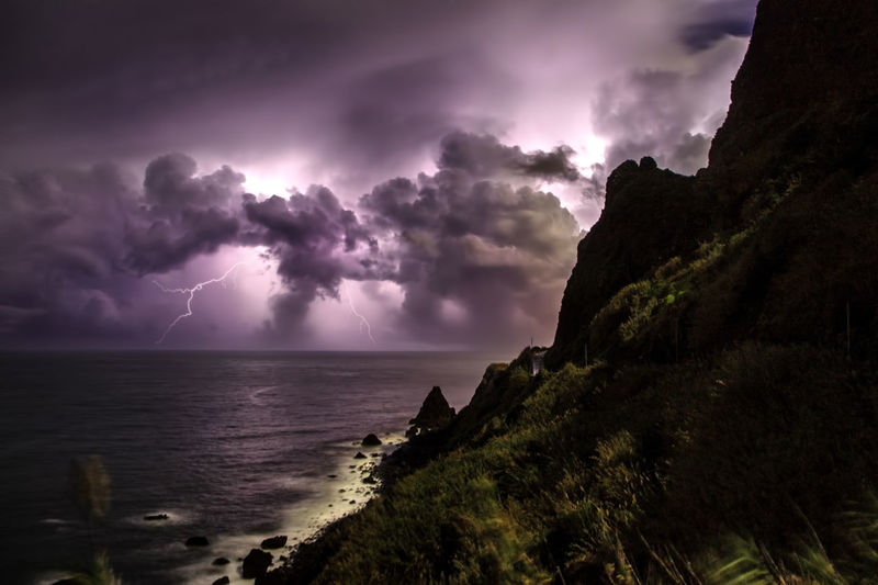 Scenic View Of Lightning Over Sea Against Sky At Dusk