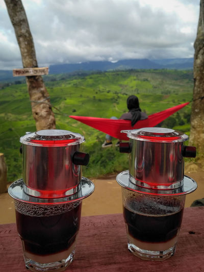 Twin Vietnam Drip Coffee Time Koffie Enjoying Life Kopi Coffee and Sweets V60 Arabicacoffee Coffee - Drink Coffee Vietnam Drip Folk Folkgood Lifestyles Hammock Hammock Time Enjoyment Enjoying Life Drink Red Drinking Glass Mint Tea Tree Close-up Landscape Food And Drink Sky Mountain Range Snowcapped Mountain Tea Cup Black Tea