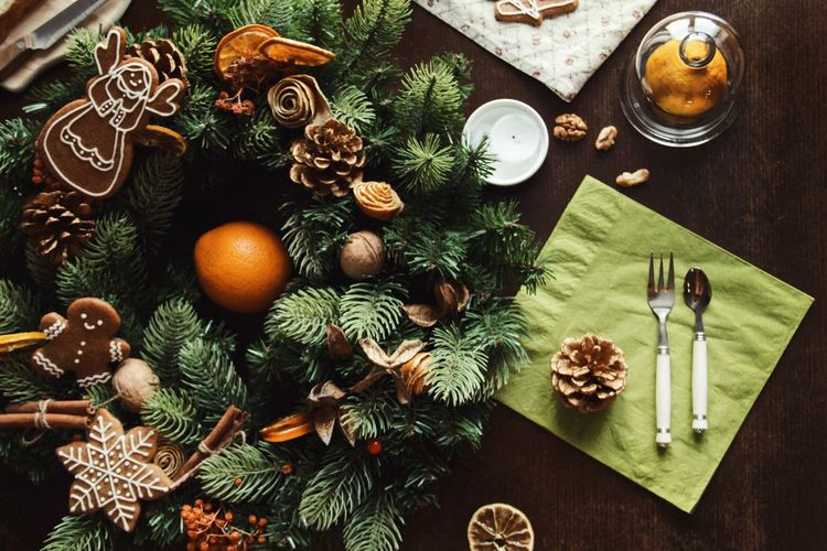 Christmas New Year Christmas Market Table High Angle View Food Celebration Food And Drink Holiday No People Christmas Christmas Decoration Christmas Ornament Plant Decoration Nature Candle Tree Still Life