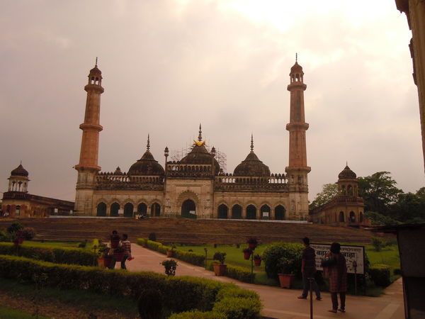 01176 Bara Imambara-Lucknow-India Arch Architecture Building Exterior Built Structure Dome Façade Famous Place Footpath Formal Garden Garden Path Grass History Incidental People Lawn Pathway Person Plant Sky The Past Tourism Tourist Travel Travel Destinations Vacations Walkway