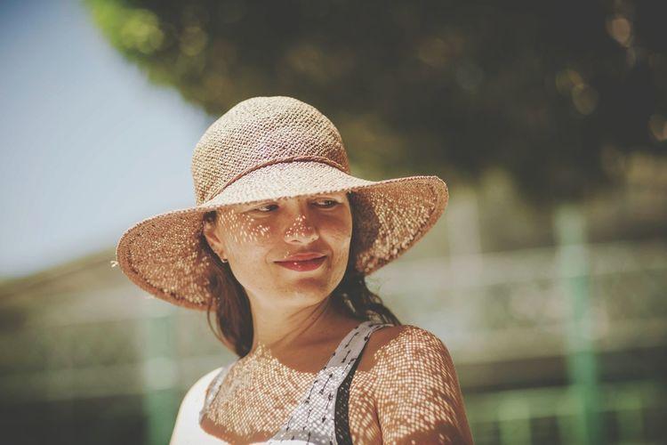 EyeEm Selects Only Women Sun Hat Beauty Portrait Smiling Happiness Summer Enjoyment Women Hello World Good Morning Goodmorningsunshine Day Tranquility Lifestyles Headshot