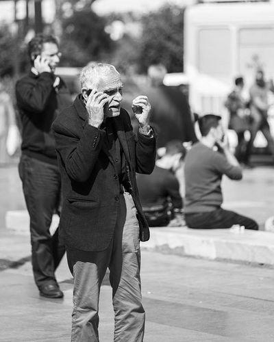 📞📱😂😂 Cell Phone Angry Dayı Siyah Beyaz Black White Bnw Eminönü Istanbul City Nice Fujifilm Xt1 Street Workshop People