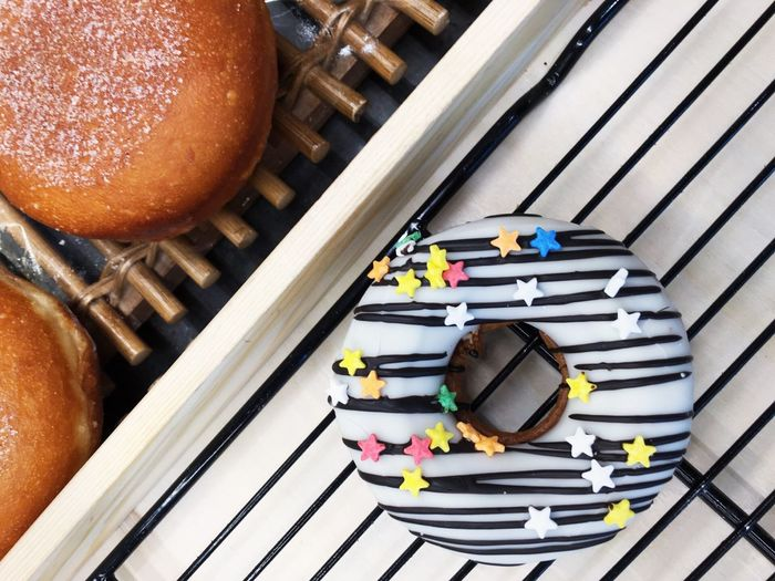 High Angle View Of Donut On Table