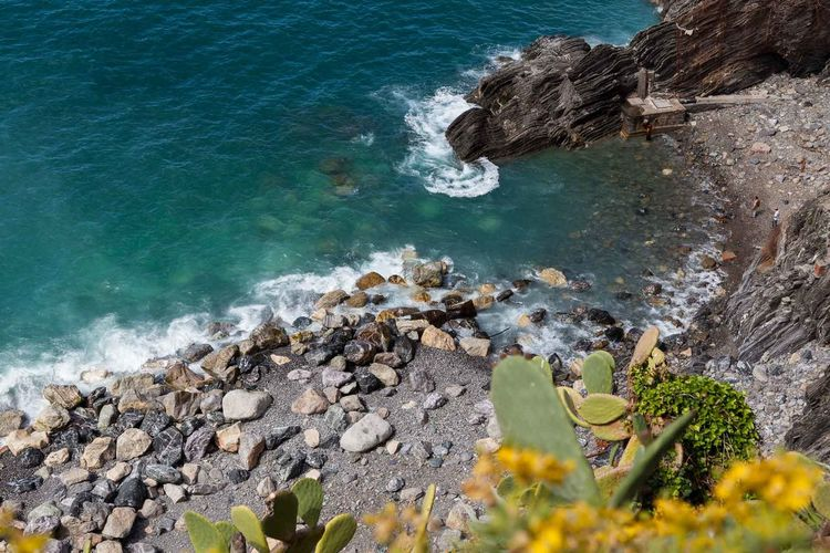 5 Terre Beach Beauty In Nature Day High Angle View Liguria Mediterranean  Nature No People Outdoors Rock - Object Sea Summer Travel Destinations Water Wave