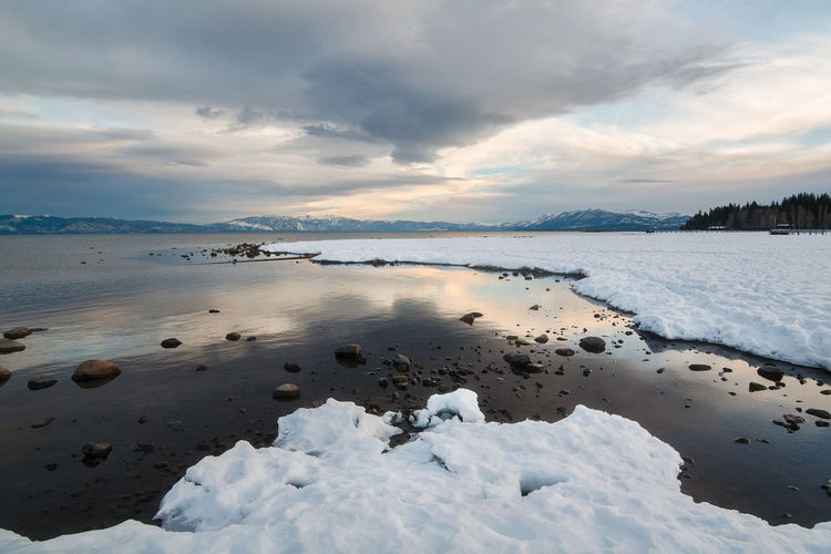 Beautiful Lake Tahoe California Beauty In Nature Boulder Boulders Close-up Cloud - Sky Cold Temperature Day Lake Lake View Lakeshore Lakeside Landscape Nature No People Outdoors Rocks Scenics Sky Sunset Tahoe Tranquil Scene Tranquility Travel Destinations Water Winter