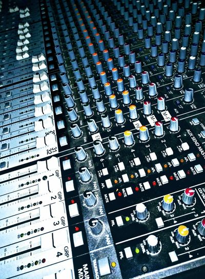 soundboard Technology Mechanical Electric Electronic Music Musical Equipment Full Frame Pattern Close-up Sound Mixer Sound Recording Equipment Recording Studio Control Panel Audio Equipment Radio DJ Producer Radio Station Amplifier Switch