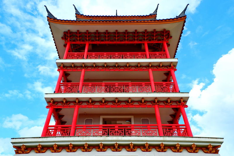 Low angle view of traditional building against sky