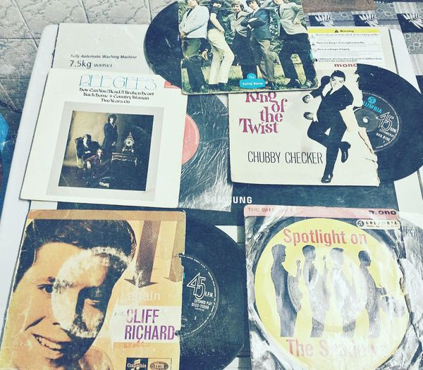 Old records.. Tons of them but this is the favourite Beegees Rollingstones Chubbychecker Cliffrichard Theshadow
