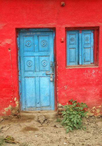 Door Red Closed Built Structure Protection Security Blue Entrance Architecture Safety Vibrant Color Front Door Parbhani India Long Goodbye The Secret Spaces Colour Your Horizn