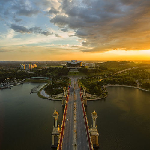 Putrajaya International Convention Centre and Seri Gemilang Bridge at sunset Aerial View Architecture City Cityscape Cloud - Sky Day Editorial  No People Outdoors Reflection Scenics Sky Skyscraper Sunset Travel Travel Destinations Urban Skyline Water
