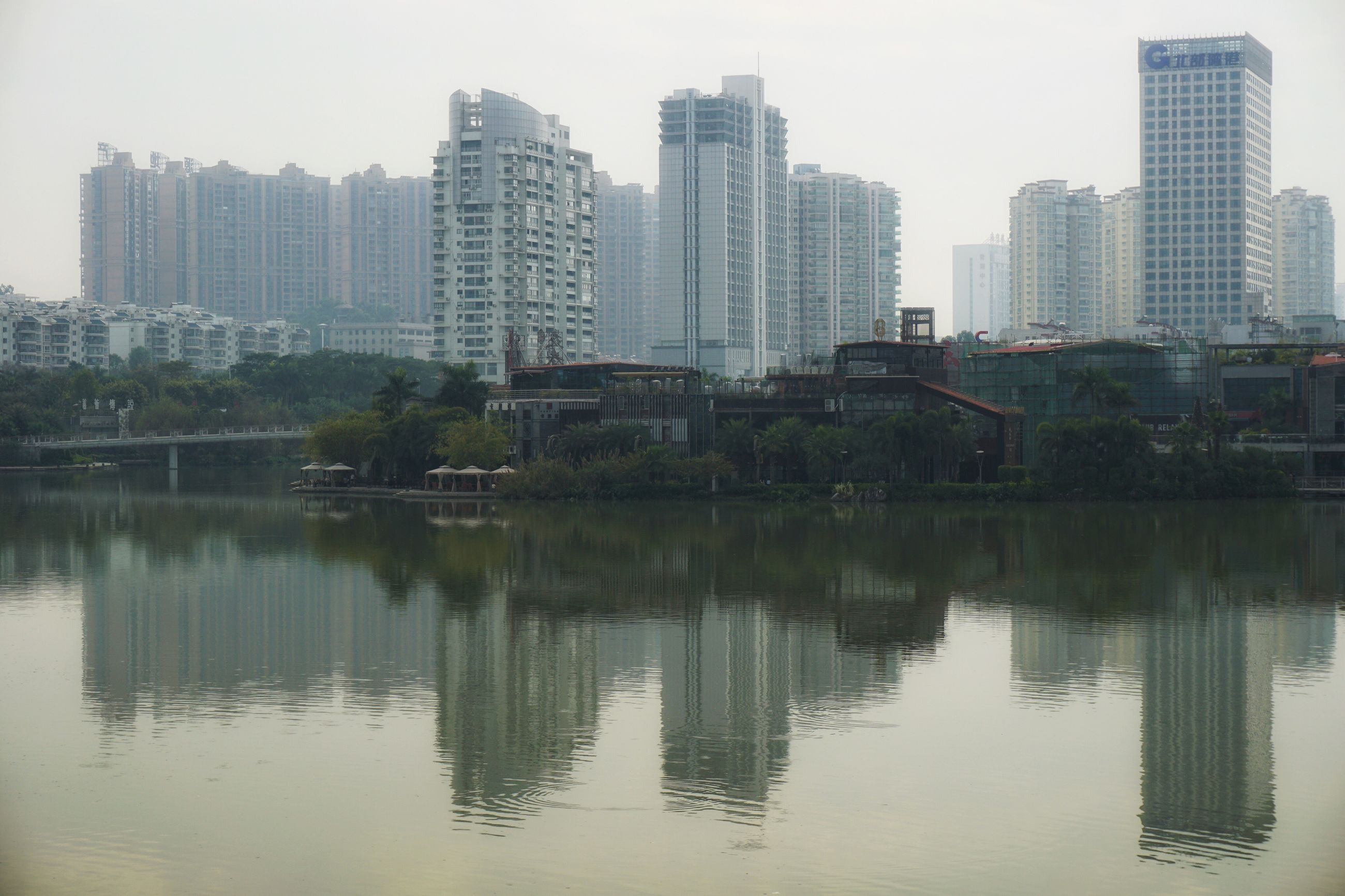 building exterior, architecture, built structure, city, water, skyscraper, reflection, waterfront, tree, tall, tall - high, building story, sky, development, office building, modern, outdoors, city life, urban skyline, apartment, tranquility, no people, skyline
