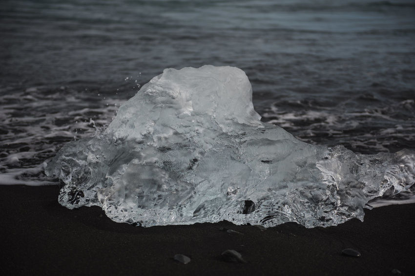 Jökulsárlón Beach Beauty In Nature Black Sand Close-up Cold Temperature Day Glacier Ice Iceberg Jökulsárlón Beach Nature No People Outdoors Sea Tranquility Water Wave