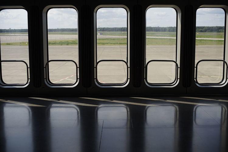 Train seen through window