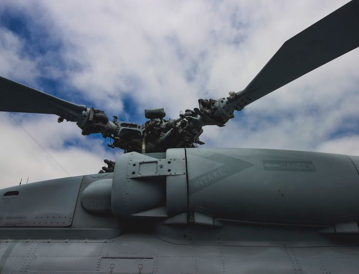 Military helicopter against cloudy sky