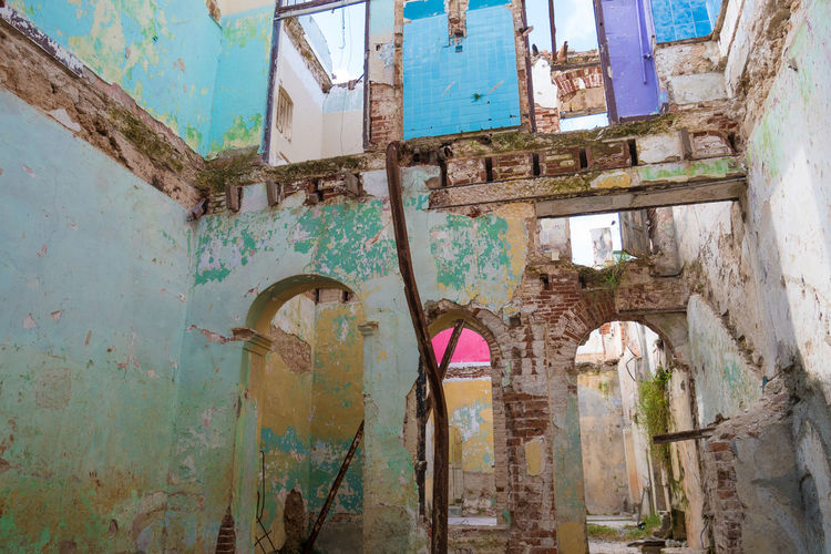 Cuba Havana Abandoned Architecture Building Exterior Built Structure Damaged Multi Colored Old Ruin