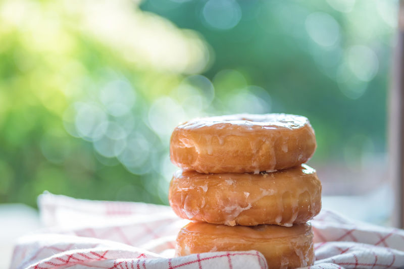 Close-up of stack of donuts