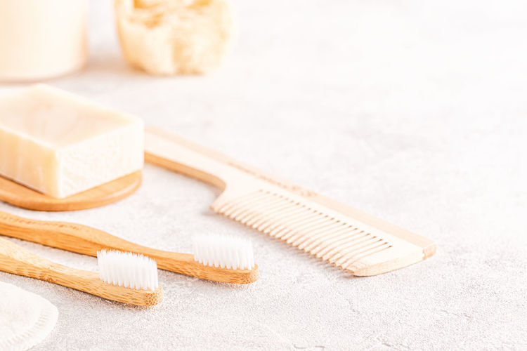Close-up of comb on table