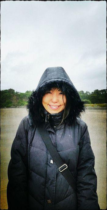 I Love Rainy Days☔ Black Jacket My Wife Japanese  Happy Smile Hood At The Beach