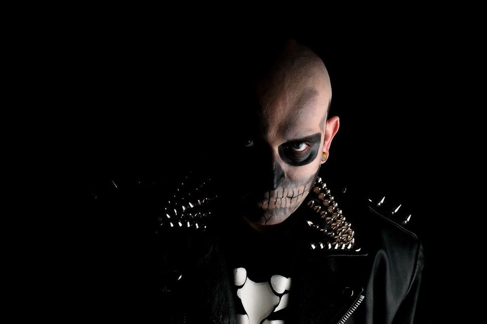 Spikes Leather Makeupartist Skull Misfits EyeEm Selects Dark Looking At Camera Spooky Adult Horror Portrait One Person Evil Adults Only Halloween Black Color One Man Only Black Background Men People Only Men Indoors