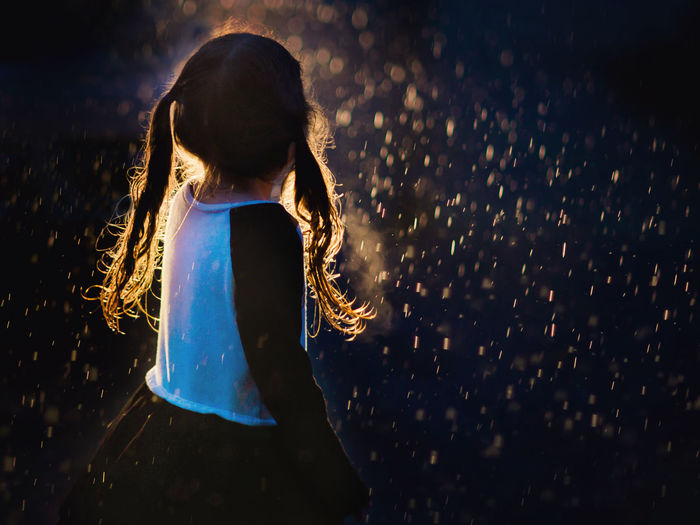 Backlit Child Children Only Night One Girl Only Outdoors Pigtails  Rain