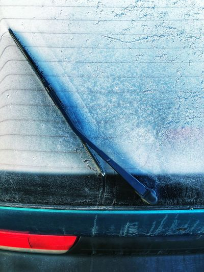 Blue No People Day Car Frozen Cold Winter Morning Window Glass Mode Of Transportation Transportation Motor Vehicle Land Vehicle Close-up High Angle View Retro Styled Outdoors Metal Backgrounds Vehicle Hood Full Frame Rear Light Wiper
