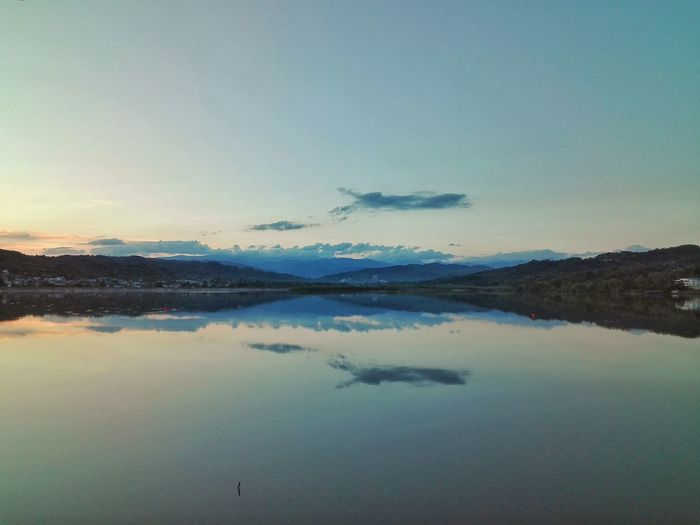 Water Mountain Lake Blue Reflection Sky Landscape Standing Water View Into Land Water Surface Patchwork Landscape Salt Lake Fjord Sunset Atmospheric Mood Power In Nature Reflection Lake