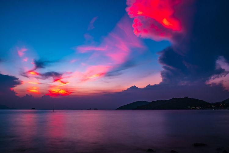 Water Sea Mountain Sunset Dramatic Sky Sky Landscape