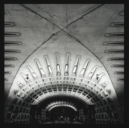 A transportation cathedral. Metro center Washington DC Metro Metro Station Arquitecture Urbanism Interior Transportation Building - Type Of Building Cement, Concrete, Gray, Stone, Hard, Construction, Urban, Paving, Blackandwhite Photography Indoors  No People Architecture Day Close-up