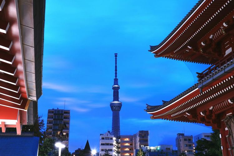 Low angle view of tokyo sky tree against sky seen from senso-ji temple