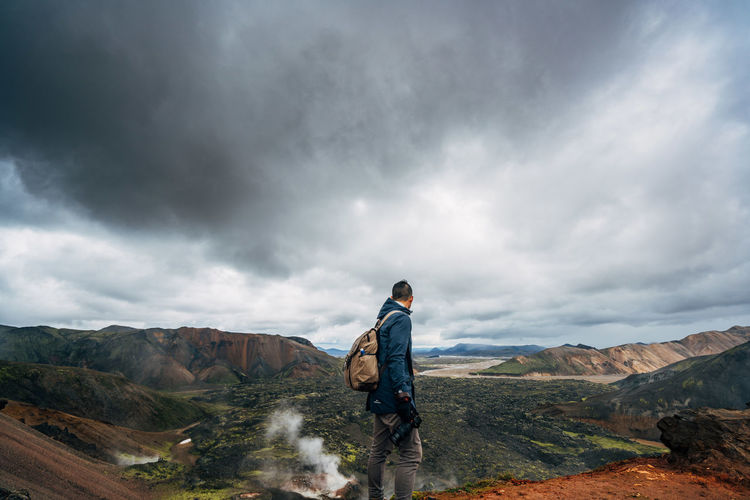 Adult Adventure Beauty In Nature Cloud - Sky Full Length Hiking Iceland Iceland_collection Landscape Mountain Nature One Man Only One Person One Young Man Only Only Men Outdoors People Scenics Storm Storm Cloud Travel Destinations Travlr Vacations Lost In The Landscape