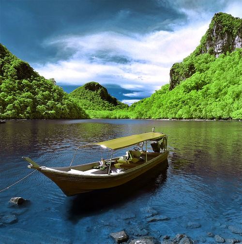 langkawi island Beauty In Nature Cloud - Sky Day Green Color Mode Of Transportation Moored Nature Nautical Vessel No People Outdoors Plant River Rowboat Scenics - Nature Sky Tranquil Scene Tranquility Transportation Tree Water