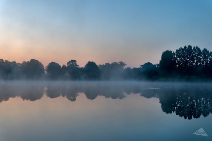 """I called this one """"Zen at the Lake"""" because honestly I was the LAKE ... :) Blue Hour EyeEmNewHere Normandie Reflection Dathée Lake Landscape Landscapes Mist Normandy Vire"""