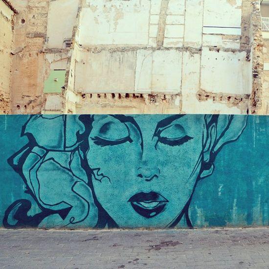 Streetart Wallart Art Artstagram Instaart Artofinsta Artist Artofinstagram Dailyart Artotd Graffiti Ruins Beauty Popart Pop Rotten Island España Mallorca Streets City Contrast Blue Painting Kunst