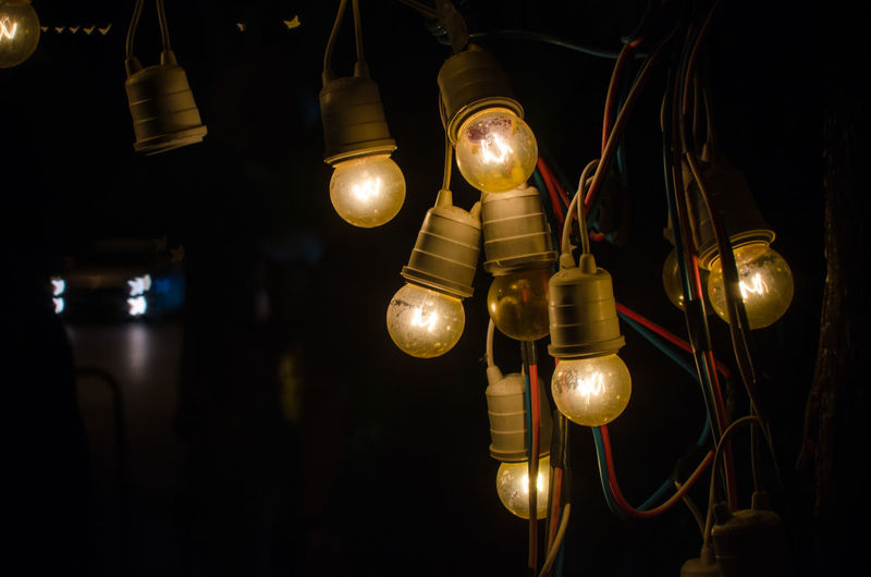 """Silence speaks when words can""""t. Light Illuminated Technology Hanging Light Bulb Black Background Lighting Equipment Electricity  Close-up Electric Light Recessed Light Lamp EyeEmNewHere"""