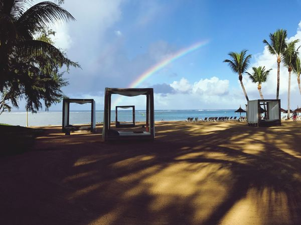 Mauritius Rainbow Beauty In Nature Rainbows Sky Clouds Sea Horizon Over Water Tranquility Nature Scenics Water Beach Sand Resort Holiday Belombre Mauritius Island