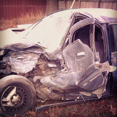 Here is a side shot of the car... Can't believe I survived. Angels JawsOfLife