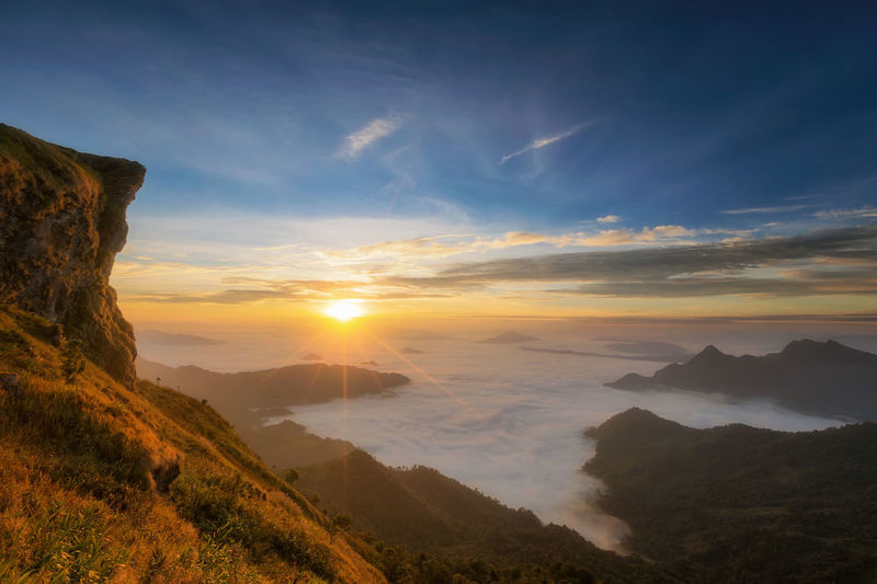 Beauty In Nature Cloud - Sky Day Landscape Mountain Nature No People Outdoors Scenics Sky Sun Sunset Vacations