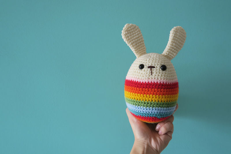 easter day 1 of 2: front (leave space for layout design) Easter Day Easter Ready Holding Multi Colored Pastel Rabbit Soft Toy Toy Rainbow Colour Of Life
